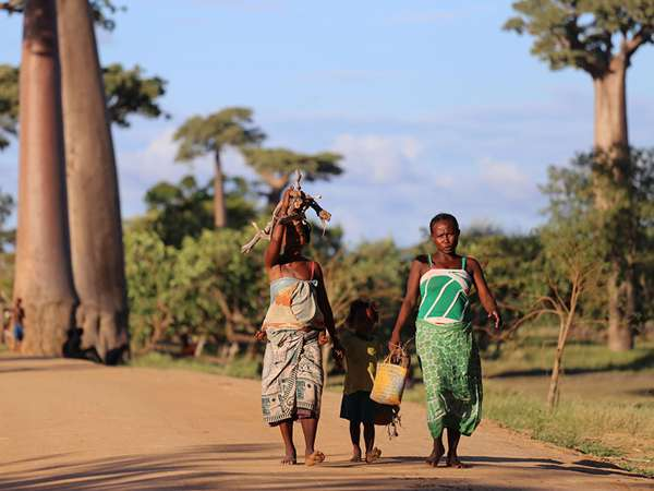 A global family walks down a large dirt road on a hot sunny day with some of their belongings in their hands.